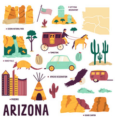 set symbols landmarks objects arizona vector image