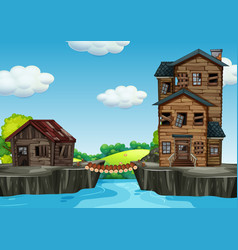 Shabby house next to water vector