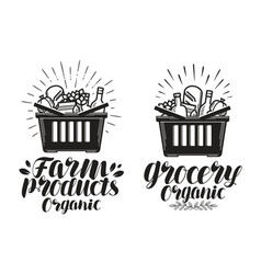 Shopping basket with fresh food grocery or farm vector
