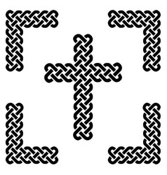 simple celtic style endless knot cross in black vector image