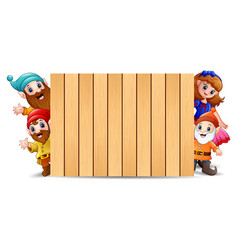 snow white with dwarf and wood blank sign vector image