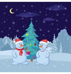 Snowmans near christmas tree in vector