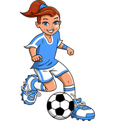 Soccer football girl player clipart cartoon vector