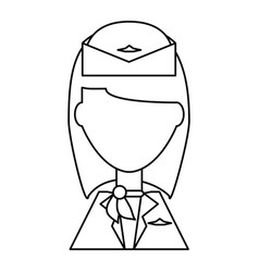 Stewardess profile cartoon vector