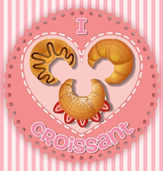 Strawberry chocolate and plain croissant on heart vector