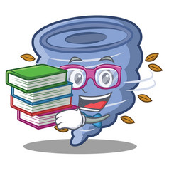 Student with book tornado character cartoon style vector