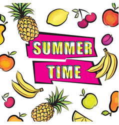 Summer time card background tropical fruit set vector