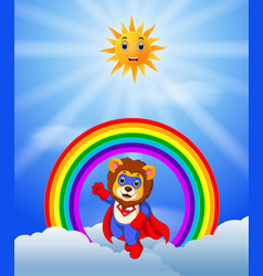 superhero lion on the skies vector image