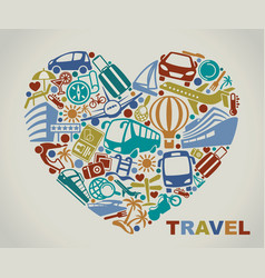 symbols of tourism and travel in the form of heart vector image