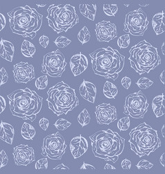 tender pale blue pattern with roses and leaves vector image