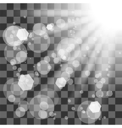 Transparent Sun Light on Checkered Background vector
