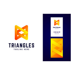 triangles logo and business card template vector image