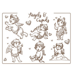 Valentine day cupids and angels with wings vector