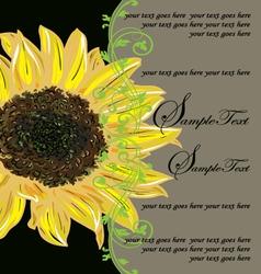 Vintage Elegant Sunflower Wedding Invitation vector image