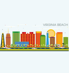 virginia beach skyline with color buildings and vector image