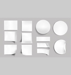 white paper stickers blank sticky notes vector image