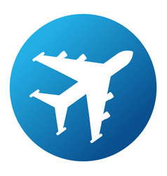 white plane on blue background vector image