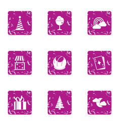 Winter prank icons set grunge style vector