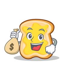 with money bag slice bread cartoon character vector image