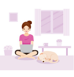 Woman work learn shopping from home vector