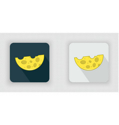 Yellow semicircular cheese icon vector