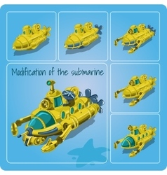A set of different submarines vector image vector image