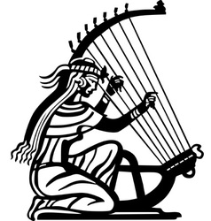 Ancient woman playing harp vector image