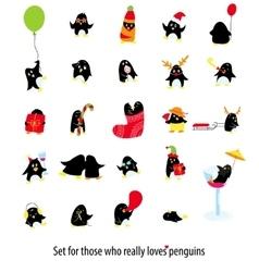Big set of cute penguins vector image vector image