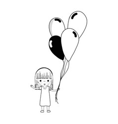 contour cute girl with balloons in the hand vector image vector image