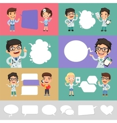 Set of a Speaking Cartoon Doctors vector image vector image
