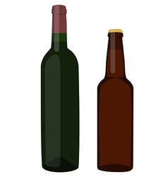 Beer and wine bottle vector image
