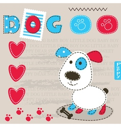 Cute baby background with dog 2 vector image