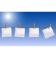 Four paper notes hanging on rope vector image vector image
