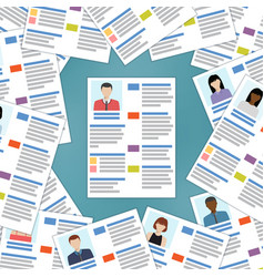 group of resumes with one in the center vector image