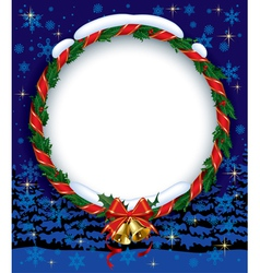 Holly wreath with bells vector image vector image