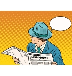 Retro man reading the morning news vector image