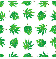 Seamless pattern of tropical palm leaves vector
