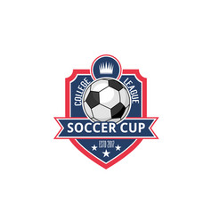 soccer college football cup ball badge icon vector image vector image