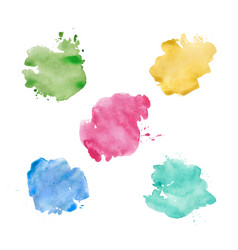 watercolor spots set realistic bright colorful vector image vector image