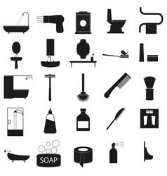 bath accessories set black icon on white vector image