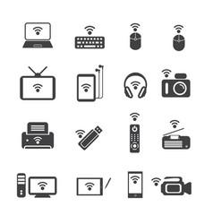 big data icon set wireless technology vector image