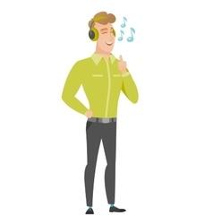 Businessman listening to music in headphones vector