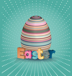 easter poster egg on blue pattern eggs with vector image vector image
