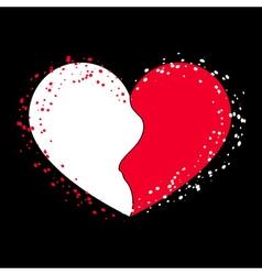 Halves heart icon on black 2 vector image vector image