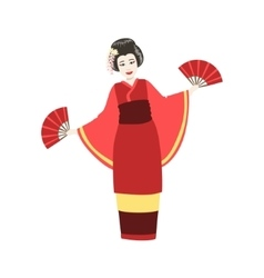 Japanese geisha doing fan dance vector