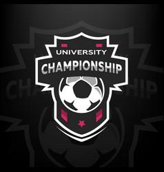 university championship soccer logo vector image vector image