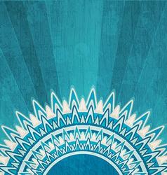 Vintage blue sun background with grunge effect vector