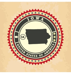 Vintage label-sticker cards of Iowa vector image