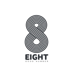 Black and white number eight logo made of vector image