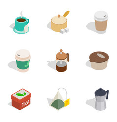 hot drinks icons isometric 3d style vector image vector image